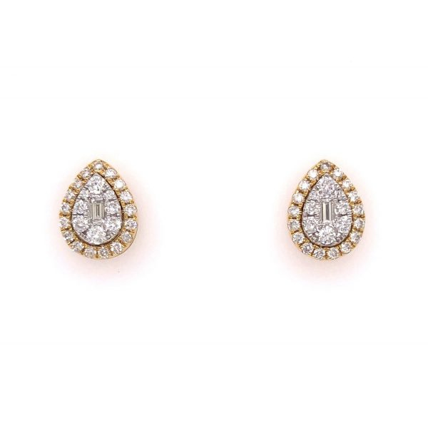 18K Yellow & White Gold Earrings with Diamonds
