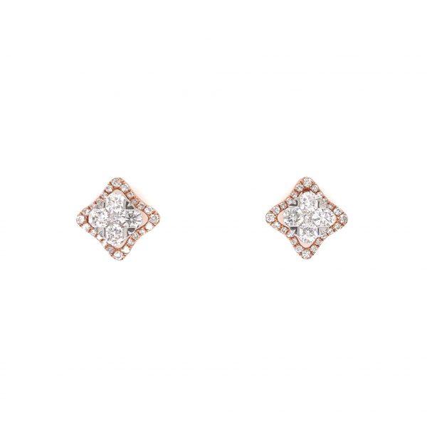 18K Rose & White Gold Earrings with Diamonds