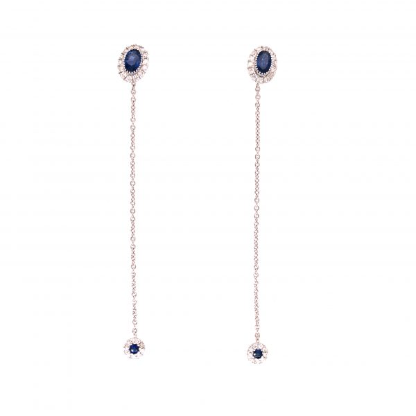 18K White Gold Earrings with Diamonds and Sapphires