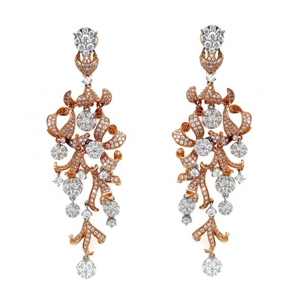 18K Rose & White Gold Earrings with Diamonds