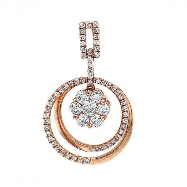 18K Rose Gold Pendant with Diamonds