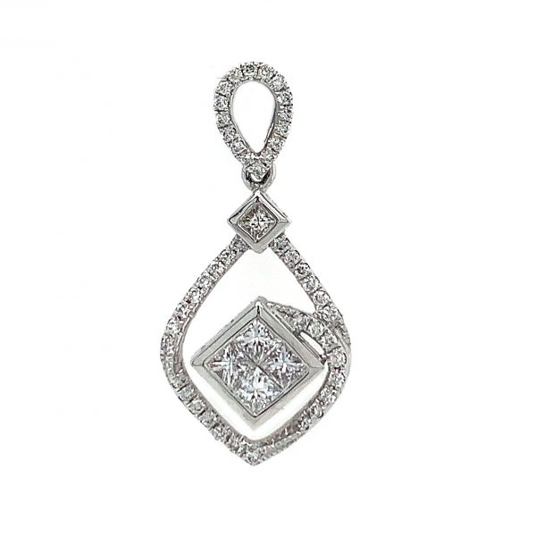 18K White Gold Pendant with Diamonds