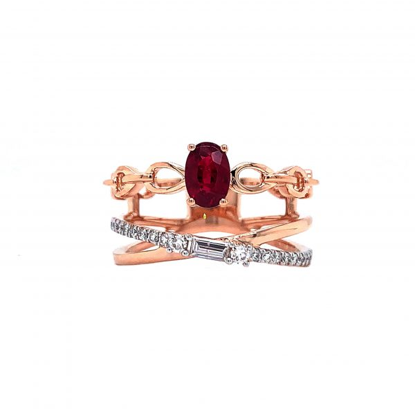 18K Rose Gold Ring with Diamonds and Ruby