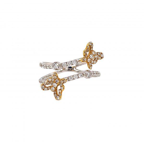 18K Yellow & White Gold Ring with Diamonds