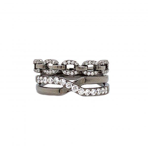 18K Black Rhodium Gold Ring with Diamonds