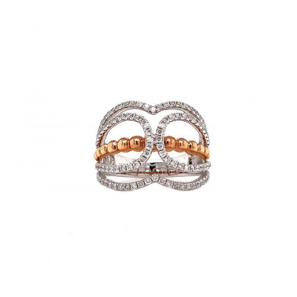 18K Rose & White Gold Ring with Diamonds