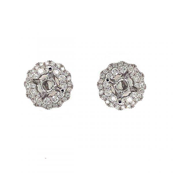 18K White Gold Semi-Mounting Earrings with Diamonds